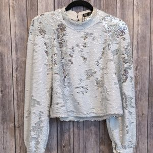 Zara Tops - NWT Zara Trafaluc Silver Sequin Holiday Blouse M